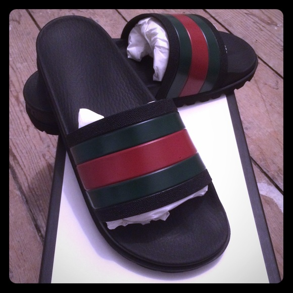 e5b142bce Brand New Black Gucci Web Slide Sandals US 8